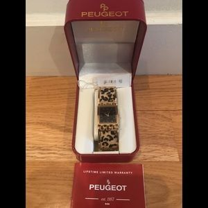 NIB Peugeot Leopard print bracelet Gold-tone watch